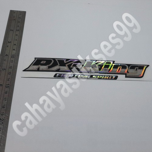 Sticker Timbul YAMAHA RX King Fighting Spirit Kombinasi Hitam Silver 18cm X 3.5cm Stiker Cutting Motor Kilap Resin Plastik.