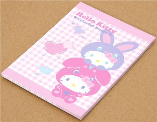 kawaii Notepad with Hello Kitty as Rabbit with hearts 1